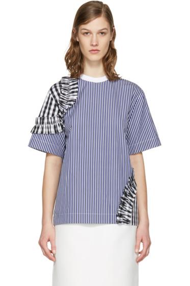 MSGM - Navy Contrast Frills Shirt