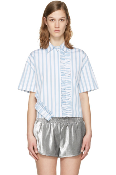 MSGM - Blue & White Ruffle Shirt