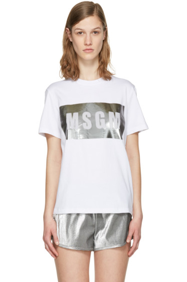MSGM - White Metallic Logo T-Shirt