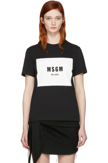 MSGM - Black Colorblock Logo T-Shirt