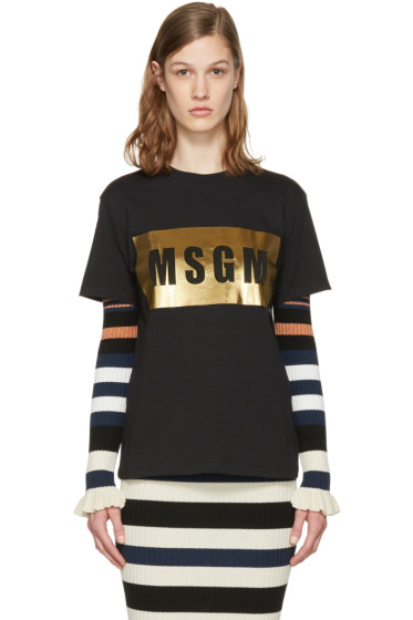 MSGM - Black Metallic Logo T-Shirt