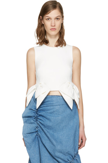 MSGM - White Cropped Bow Tank Top