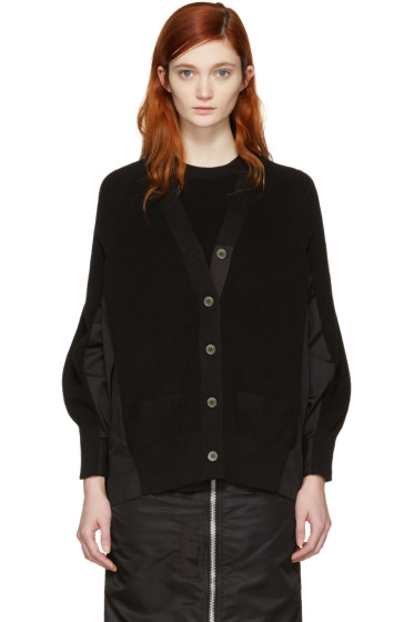 Sacai - Black Knit Cotton Cardigan