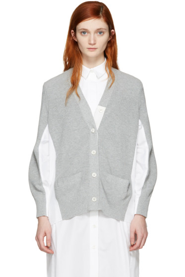 Sacai - Grey Knit Cotton Cardigan
