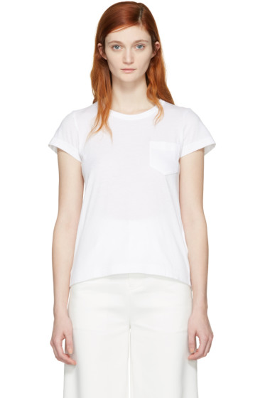 Sacai - White Fan Back T-Shirt