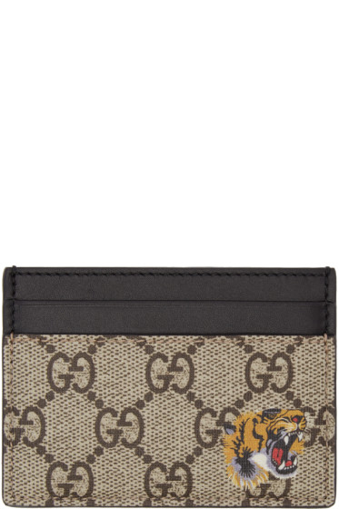 Gucci - Beige Logo & Tiger Card Holder