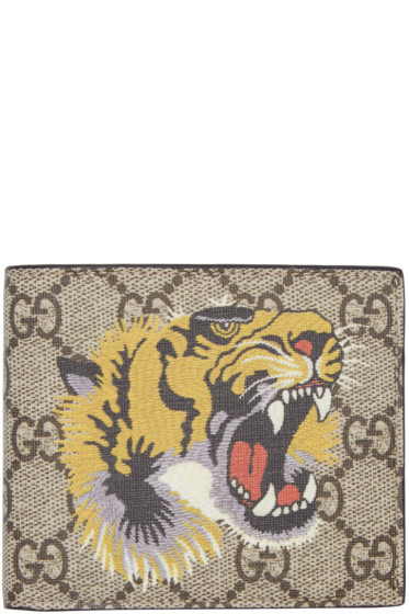 Gucci - Beige Tiger GG Supreme Wallet