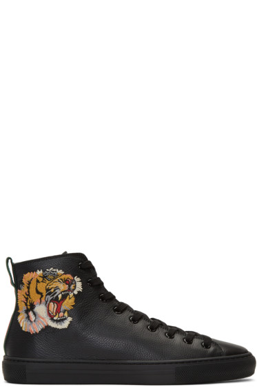 Gucci - Black Major Tiger High-Top Sneakers