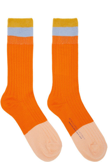 Stella McCartney - Orange Short Striped Socks
