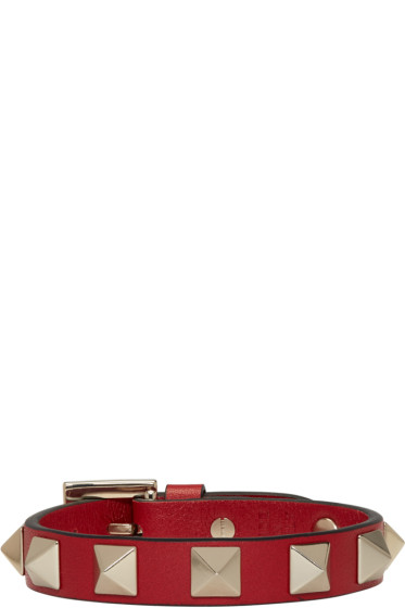 Valentino - Red Leather Rockstud Bracelet