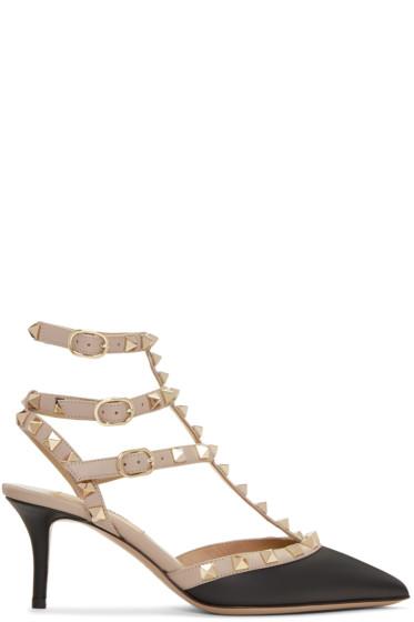 Valentino - Black & Pink Rockstud Cage Heels