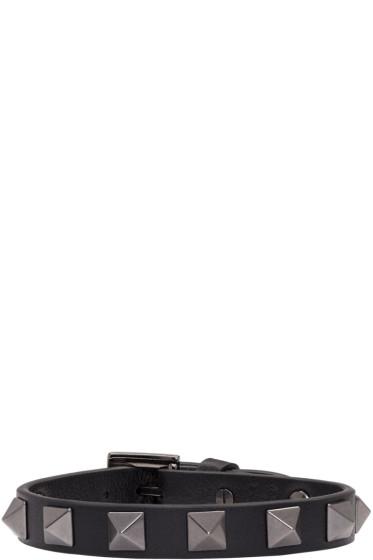 Valentino - Balck Leather Rockstud Bracelet