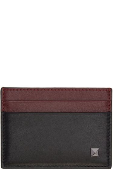 Valentino - Black & Burgundy Single Rockstud Card Holder