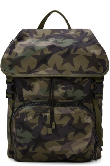 Valentino - Green Nylon Camustars Backpack