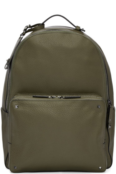 Valentino - Green Leather Rockstud Backpack
