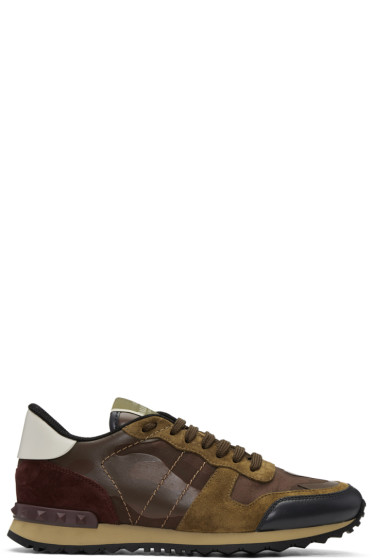 Valentino - Brown Camo Rockrunner Sneakers