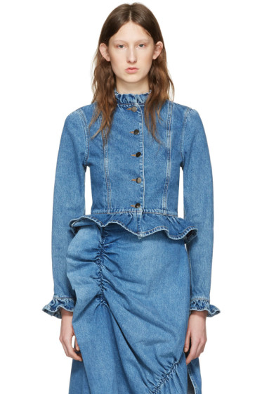 J.W.Anderson - Blue Denim Ruffle Jacket