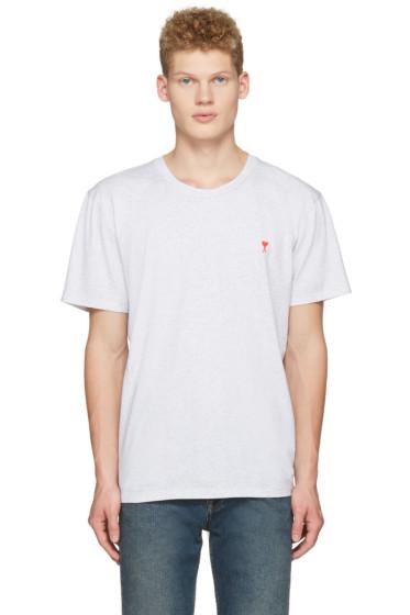 AMI Alexandre Mattiussi - Grey Ami Coeur Embroidery T-Shirt
