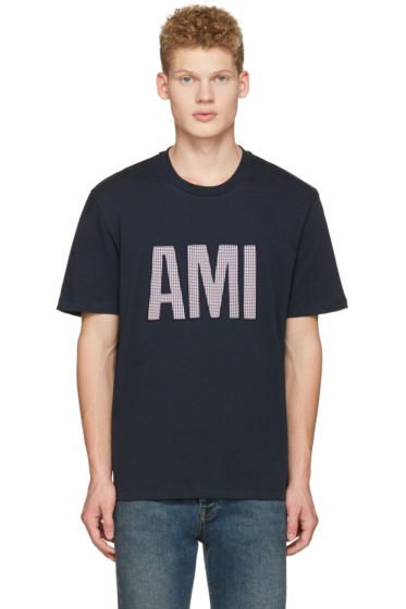 AMI Alexandre Mattiussi - Navy Cotton Letters T-Shirt