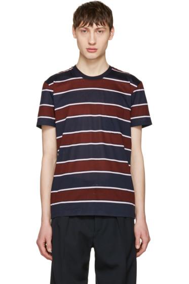 AMI Alexandre Mattiussi - Navy Striped Pocket T-Shirt