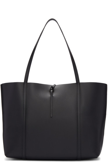 Kara - Black Leather Tie Tote