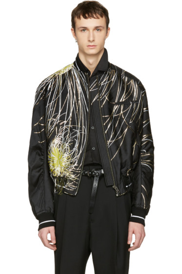 Haider Ackermann - Black Embroidered Bomber Jacket