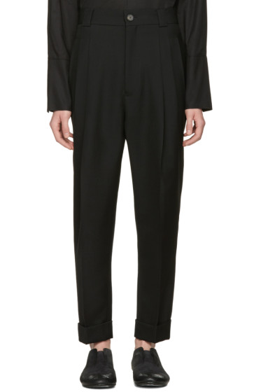 Haider Ackermann - Black Wool Pleated Trousers