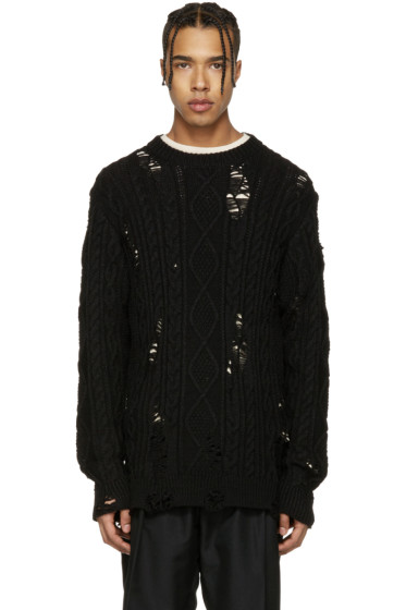 Miharayasuhiro - Black Distressed Cable Knit Sweater