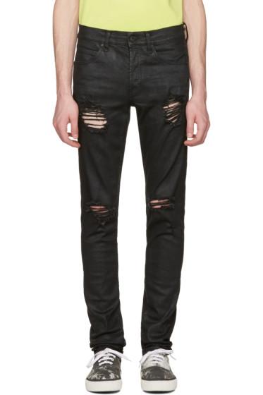 Off-White - Black Slim Rips Diagonal Jeans