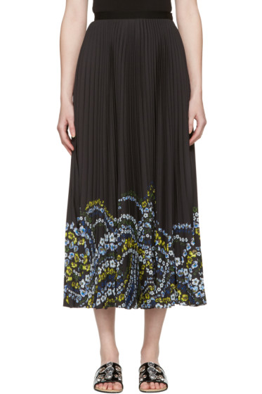 Erdem - Black Pleated Floral Hem Skirt