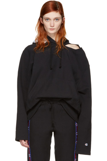 Vetements - Black Champion Edition Open Shoulder Hoodie
