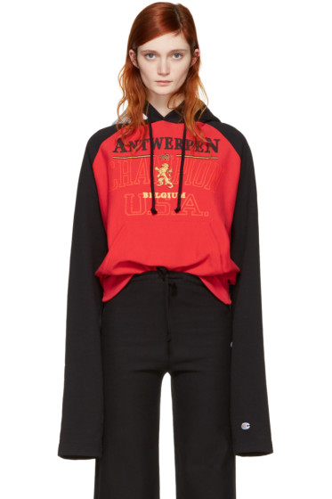 Vetements - Red & Black Champion Edition Antwerpen Hoodie