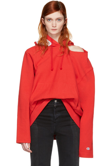 Vetements - Red Champion Edition Open Shoulder Hoodie