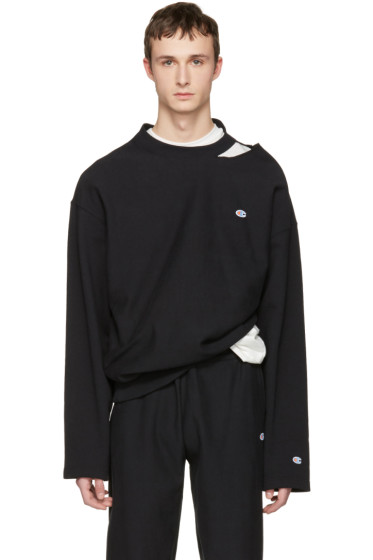 Vetements - Black Champion Edition Cut Out Neckline Pullover