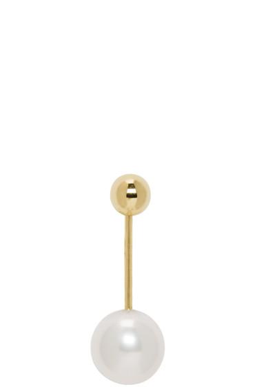 Sophie Bille Brahe - Gold Pearl Elipse Simple Earring