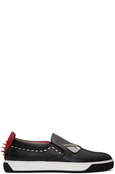 Fendi - Black 'Bag Bug' Slip-On Sneakers