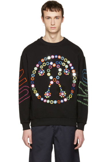 Moschino - Black Embroidered Mirror Logo Pullover