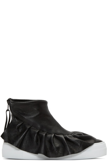 Joshua Sanders - Black Ruched High-Top Sneakers