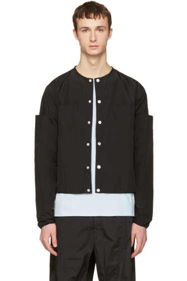 Telfar - Black Nylon Collarless Windbreaker