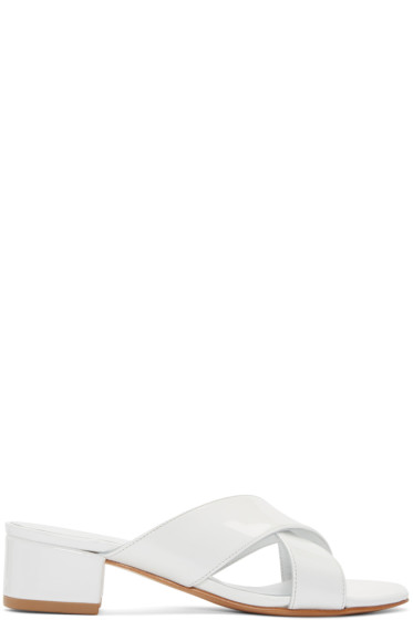 Maryam Nassir Zadeh - White Patent Leather Lauren Slide Sandals