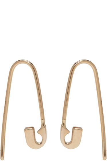 Lauren Klassen - Gold Tiny Safety Pin Hook Earrings