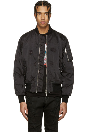 Unravel - Black Nylon Distressed Bomber Jacket