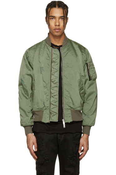Unravel - Green Distressed Bomber Jacket