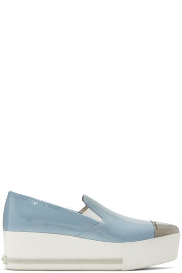 Miu Miu - Blue Platform Slip-On Sneakers