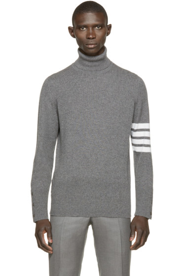Thom Browne - Grey Striped Cashmere Turtleneck