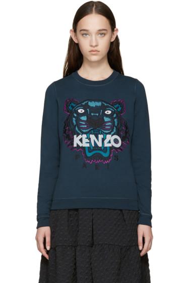 Kenzo - Blue Embroidered Tiger Sweatshirt