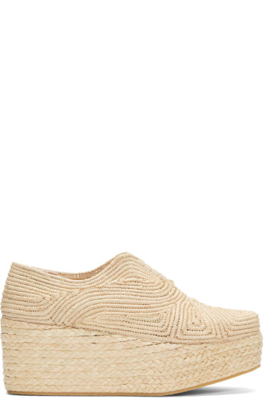 Robert Clergerie - Tan Rafia Flatform Pinto Shoes