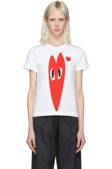 Comme des Garçons Play - White Hearts T-Shirt