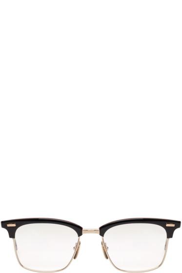 Thom Browne - Navy & Gold Horn-Rimmed Glasses