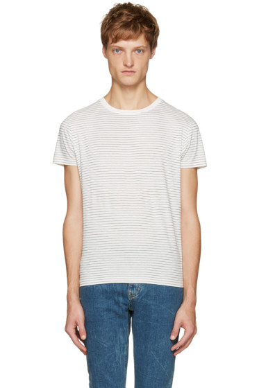 Saint Laurent - White & Black Striped T-Shirt